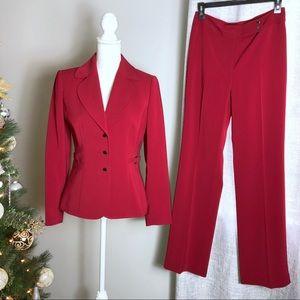 Tahari Suit Pants & Jacket 4 Red NEW
